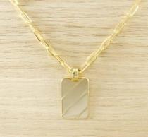 Corrente Masculina Cordão 70cm 3,5mm e Pingente Placa Tudo Folheada Ouro. 1770/1841 - Gabriela costa semi jóias