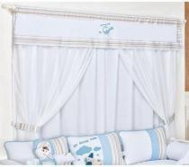 Cortina p/ Quarto Bebê 2,10m x 1,70m Coleção Avião - Tecido 100 Algodão - Laura Baby