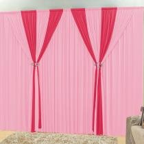 Cortina rafaela rosa/pink 3,00m x 2,80m - Dourados enxovais