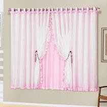 Cortina romântica rosa 3,00m x 2,50m - Dourados enxovais