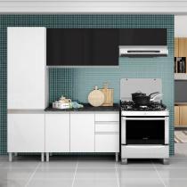 Cozinha Clarice Itatiaia em Aço 4 Peças 7 Portas 3 Gavetas - Preta e Branca - Itatiaia