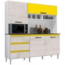 Cozinha Compacta 04 Portas Florença Branco/Aspen/Amarelo - MPdecor -