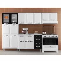Cozinha Compacta 3 Peças 2 Portas em Vidro Premium Itatiaia Branco/Preto - Itatiaia