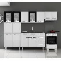 Cozinha Compacta 3 Peças 3 Portas em Vidro Itanew Itatiaia Branco/Preto - Itatiaia