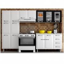 Cozinha Compacta 3 Peças 3 Portas em Vidro Premium Itatiaia Branco/Preto - Itatiaia