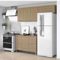 Cozinha Compacta 3 Peças 6 Portas  (Não Acompanha Tampo) Smart Belaflex Nogueira -