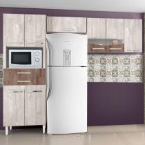 Cozinha Compacta 3 Peças 8 Portas 2 Gavetas Lívia CHF (Não acompanha Balcão) Champanhe/ Chocolate -