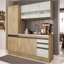 Cozinha Compacta 3 Peças Amália A2696 Casamia (Não acompanha Pia) Nogueira/Snow -