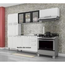 Cozinha Compacta 3 Peças sem Balcão 3 Portas em Vidro Tarsila Itatiaia Branco/Preto - Itatiaia