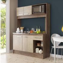 Cozinha Compacta 4 Portas 1 Gaveta New Delta Decibal Freijó/Acácia -