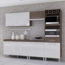 Cozinha Compacta 5 Peças com Kit 2 Fornos Ravena Indekes Nogal/Branco/Nogal -