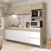 Cozinha Compacta 7 portas 3 gavetas com Pé Slim Decibal Acácia/Branco -