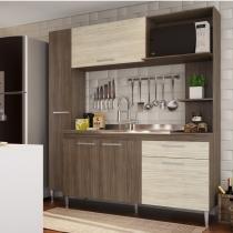 Cozinha Compacta Aéreo, Espaço para Forno, Paneleiro e Balcão de Pia Pérola - Nover/Natural - Casamia