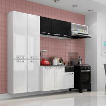 Cozinha Compacta Amanda com Balcão 1 Gaveta em Aço - Branco/ Preto - ITATIAIA