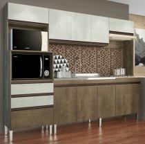 Cozinha Compacta Ariel 10 Portas e 2 Gavetas Casamia Snow com Dark -