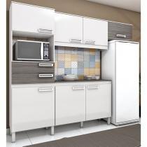 Cozinha Compacta Brizz B107 com 7 Portas 2 Gavetas - Henn - Branco com Cinza -