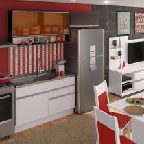 Cozinha Compacta Carol Madesa Branco/ Ébano/ Preto -