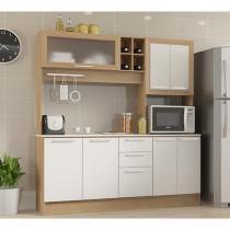 Cozinha Compacta Carvalho Branco Ditália Móveis 180 CM -