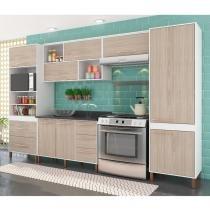 Cozinha Compacta Castanha Paneleiro, Armários e Balcão Albatroz - Branco/Teka -