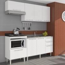Cozinha Compacta com 1 Balcão para pia, 1 Tampo Balcão p/ Cooktop, 2 armários aéreos - Branco - Mia - CasaTema