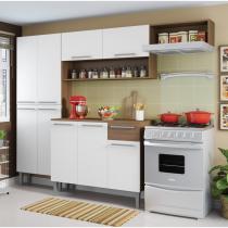 Cozinha Compacta com 4 Peças Emily Madesa Branco/Rustic -