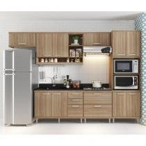 Cozinha Compacta com Aéreos, 1 Armário para Forno/Micro-ondas e Balcões para Pia/Cooktop - Argila - Casatema