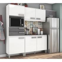 Cozinha Compacta Com Balcao BE107 BEC107 Branco Gris Briz -