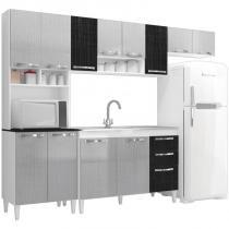 Cozinha Compacta com Balcão Carol 12 Portas Branco/Gelo/Negro - MPdecor -