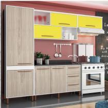 Cozinha Compacta com Balcão e Tampo 4 Peças Hibisco Albatroz Móveis Branco/Teka/Amarelo -