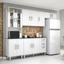 Cozinha Compacta com Balcão e Tampo MDP 4 Peças Suíça Poliman Móveis Branco - Poliman Móveis