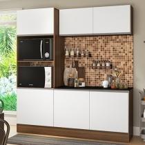 Cozinha Compacta com Balcão Multimóveis Linea  - Nicho para Forno Micro-ondas 6 Portas