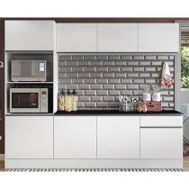 Cozinha Compacta com Balcão Multimóveis Linea - Nicho para Forno Micro-ondas 8 Portas 1 Gaveta