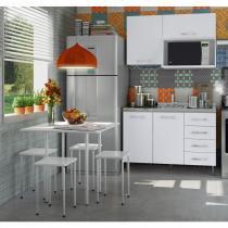 Cozinha Compacta com Balcão sem Tampo, Mesa e 4 Banquetas Vicenza Completa Móveis Branco - Completa Móveis