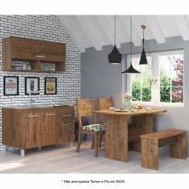 Cozinha Compacta com Mesa, 2 Cadeiras e 1 Banco Requinte Viero (Balcão não acompanha Tampo e Pia) Grigio/Amora - Viero