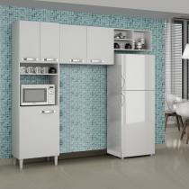 Cozinha Compacta com Nicho 3 Peças Granada Sallêto Móveis Branco - Sallêto Móveis