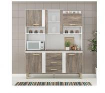 Cozinha Compacta com Tampo Fellicci Iris, 5 Portas, 3 Gavetas,Naturalle/Branco -