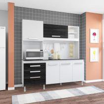 Cozinha Compacta com Tampo Flávia Indekes Branco/Grafite - Indekes
