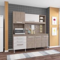 Cozinha Compacta com Tampo Flávia Indekes Nogal/Salina -