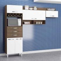 Cozinha Compacta Daniela 5 PT Dakota e Branco - Aramóveis