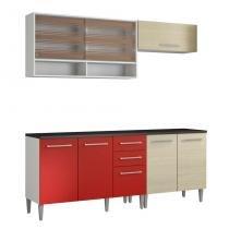 Cozinha Compacta Glamy Elis Anis Branco E Tirol Vermelho - Glamy