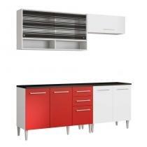 Cozinha Compacta Glamy Elis Anis Branco E Vermelho - Glamy