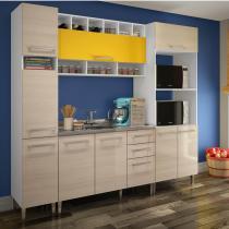 Cozinha Compacta Glamy Suellen Madesa Branco/Tirol/Amarelo - Madesa