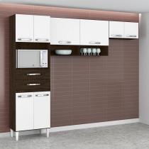 Cozinha Compacta Isabella 8 PT Ravello e Branco - Aramóveis