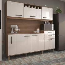 Cozinha Compacta Luciane Lilian com Balcão - 6 Portas 3 Gavetas