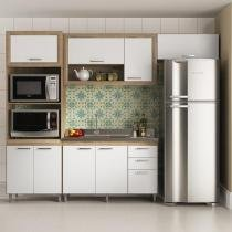 Cozinha Compacta Multimóveis Toscana com Balcão - 8 Portas 3 Gavetas