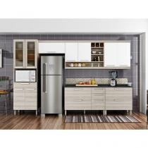 Cozinha Compacta Nesher Gold 3 com Balcão - 6 Nichos 12 Portas 5 Gavetas