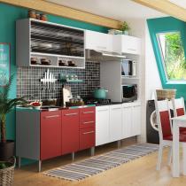 Cozinha Compacta Orquidea 11 Portas e 2 Gavetas Branco e Vermelho - Glamy