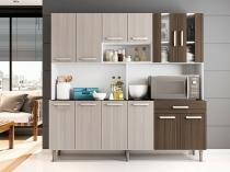 Cozinha Compacta Poliman Clara com Balcão - Nicho para Micro-ondas 12 Portas 1 Gaveta