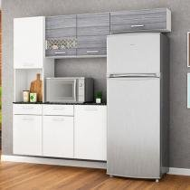 Cozinha Compacta Poliman Móveis Ana 5 Portas - 1 Gaveta + Balcão com Tampo 2 Portas 1 Gaveta