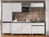 Cozinha Compacta Poliman Móveis Ibiza J09440 - com Balcão Nicho para Micro-ondas 8 Portas